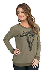 Vintage Havana Women's Olive with Black Cow Scull Long Sleeve Fashion Top