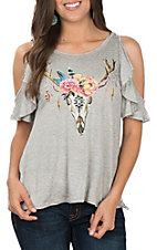 Vintage Havana Heather Grey Floral Deer Antler Top