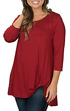 James C Women's Rust Knot Hemline Casual Knit Shirt