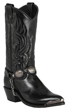 Sage Women's Black with Concho Strap J-Toe Western Boots