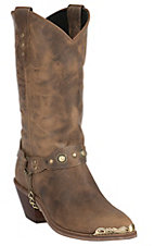 Sage Women's Antique Tan with Concho Strap J-Toe Western Boots