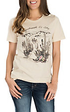 XOXO Art & Co. Women's Soft Cream Sagebrush & Sky S/S T-Shirt