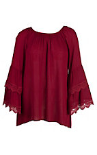 James C Women's Burgundy with Crochet Details and Long Bell Sleeves Tunic Top - Plus Size