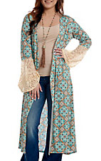 Crazy Train Women's Turquoise Multi Print Lace Bell Sleeve Duster Kimono