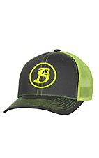 Stackin Bills Grey with Neon Yellow Circle Logo and Neon Yellow Mesh Back Snap Back Cap