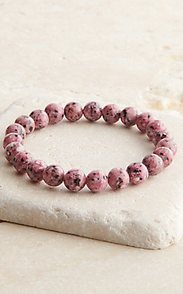 Wired Heart Speckled Pink Beaded Stretch Bracelet