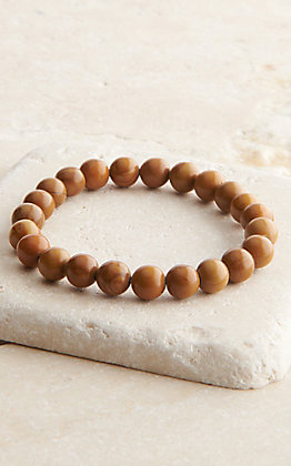 Wired Heart Brown Stone Beaded Stretch Bracelet