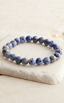 Wired Heart Speckled Blue Beaded Stretch Bracelet