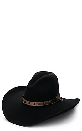 Stetson 4X Broken Bow Gus Black with Brown Studded Leather Hat Band Felt Cowboy Hat