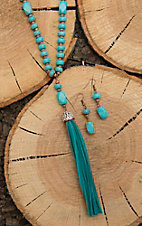 Southern Junkie Turquoise Beaded with Tassels Jewelry Set