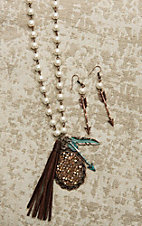 Southern Junkie Copper with Pearl Beading and Crystal, Feather, and Arrow Pendant Jewelry Set