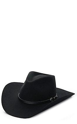 Stetson Black 4X Seneca Pinch Front Buffalo Felt Cowboy Hat