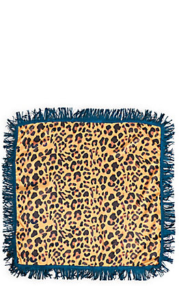 Lucky & Blessed Women's Leopard Print with Turquoise Faux Suede Fringe Scarf