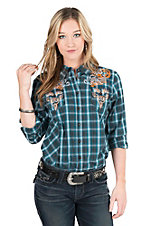 Grace in LA Women's Faded Teal Plaid With Orange and White Embroidery and Rhinestone Embellishment Long Sleeve Western Shirt