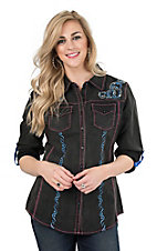 Grace in LA Women's Black with Blue Embroidery Long Sleeve Western Shirt