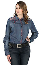 Grace in LA Women's Denim with Red Embroidery and Sequins Long Sleeve Western Shirt
