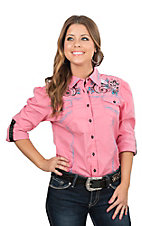 Grace in LA Women's Pink with Blue Floral Embroidery Long Sleeve Western Shirt