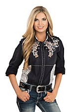 Grace in LA Women's Black with Multi-Color Embroidery and Lace Western Shirt