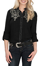 Grace in LA Women's Black with Silver Embroidery L/S Western Shirt