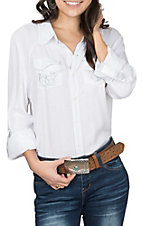 Grace in LA Women's White Embroidered w/ Rhinestones and Split Back L/S Western Shirt