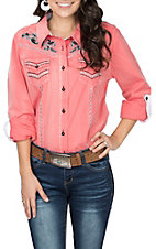 Grace in LA Women's Coral w/ Turquoise and Black Embroidery L/S Western Shirt