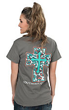Southern Couture Women's Charcoal with Paisley Cross Short Sleeve Tee