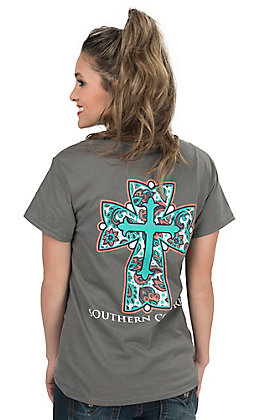 Couture Tee Women's Charcoal with Paisley Cross Short Sleeve T-Shirt