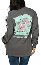 Southern Couture Women's Grey Paisley Elephant Long Sleeve T-Shirt