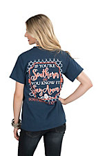 Southern Couture Women's Navy with If You're Southern and You Know it Say Amen Screen Print Short Sleeve T-Shirt