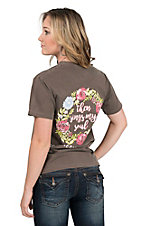 Couture Tee Women's Brown with Floral Sing My Soul Screen Print Short Sleeve T-Shirt
