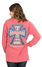 Southern Couture Women's Watermelon with Aztec Print Cross Long Sleeve T-Shirt