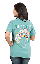 Southern Couture Women's Seafoam with Love My Tribe Screen Print Short Sleeve T-Shirt