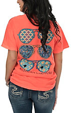 Couture Tee Women's Neon Orange with Aviators Screen Print Short Sleeve T-Shirt