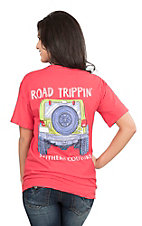 Southern Couture Women's Red with Road Trippin Screen Print Short Sleeve T-Shirt