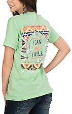 Southern Couture Women's Mint Green with I Can and I Will Screen Print Short Sleeve T-Shirt