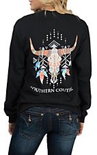 Southern Couture Women's Black Tribal Skull L/S T-Shirt