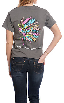 Southern Couture Women's Charcoal Painted Headdress Short Sleeve T-Shirt