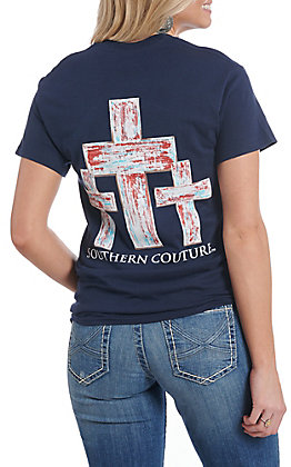 Southern Couture Tee Women's Navy Distressed Cross Short Sleeve T-Shirt