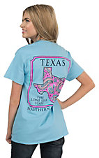 Southern Couture Women's Sky Blue with Paisley Print Texas Short Sleeve Tee