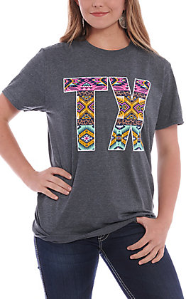 Women's Heather Grey Aztec & Leopard TX Short Sleeve T-Shirt