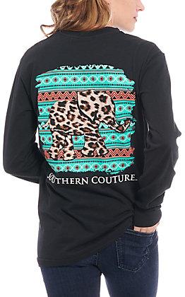 Southern Couture Women's Black Leopard Elephant Long Sleeve T-Shirt