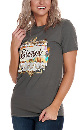 Southern Couture Women's Grey Leopard Aztec Blessed Short Sleeve T-Shirt