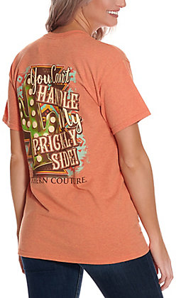 Southern Couture Women's Sunset Orange You Can't Handle My Prickly Side Short Sleeve T-Shirt