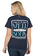 Southern Couture Women's Navy It Is Well Short Sleeve Tee