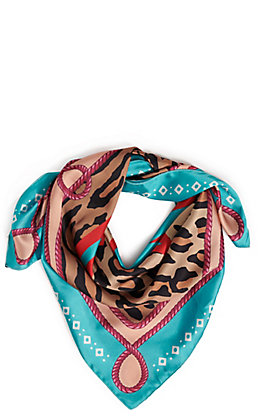 Fashion Express Turquoise Thunderbird and Leopard Print Scarf