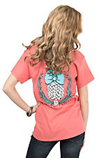 Southern Couture Women's Coral with Pineapple Short Sleeve T-Shirt