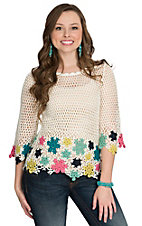 Miss Kelly White with Multicolored Floral Crochet Top