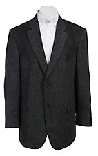 Red Sky Grey Donegal Tweed w/ Black Suede Patch Sport Coat
