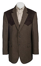 Red Sky Tan & Chocolate Donegal Tweed w/ Chocolate Suede Patch Sport Coat