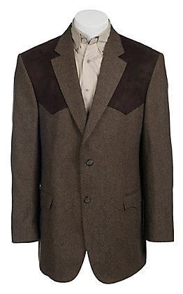 Red Sky Tan & Chocolate Donegal Tweed with Chocolate Suede Patch Sport Coat